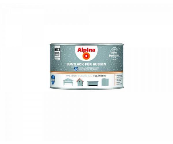 Alpina Buntlack für Außen glänzend Silbergrau