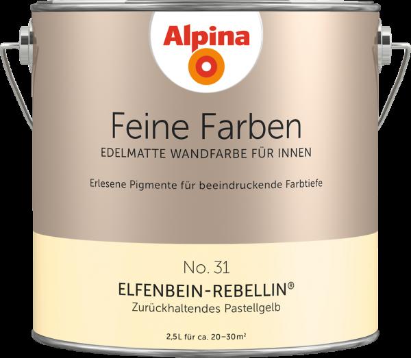 """Alpina Feine Farben No. 31 """"ELFENBEIN-REBELLIN"""" - Zurückhaltendes Pastellgelb"""