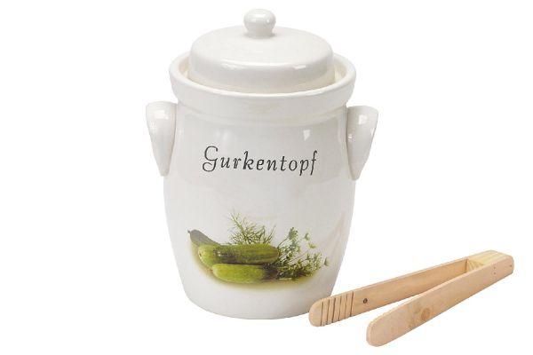 Gurkentopf 3,5 l mit Holzzange und Rezept