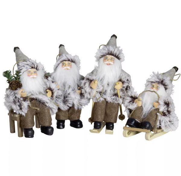 Weihnachtsmann, 18 cm, 4 Design, braun/grau