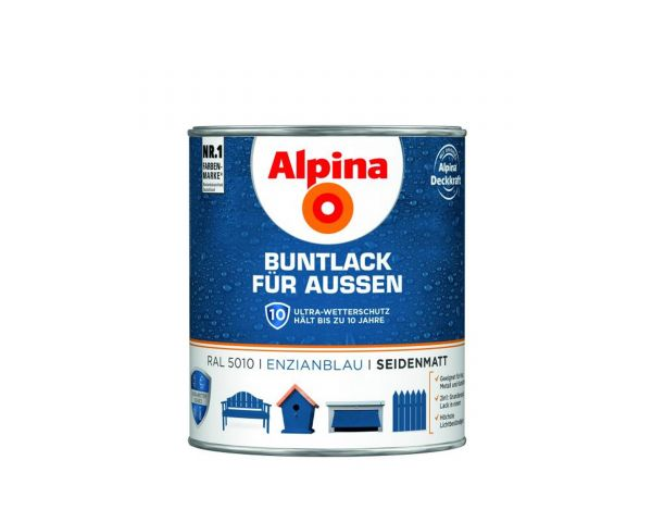 Alpina Buntlack für Außen glänzend Enzianblau