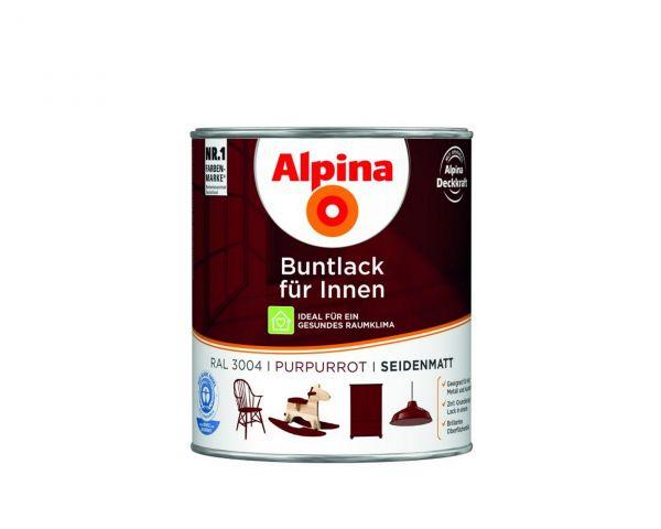 Alpina Buntlack für Innen seidenmatt Purpurrot