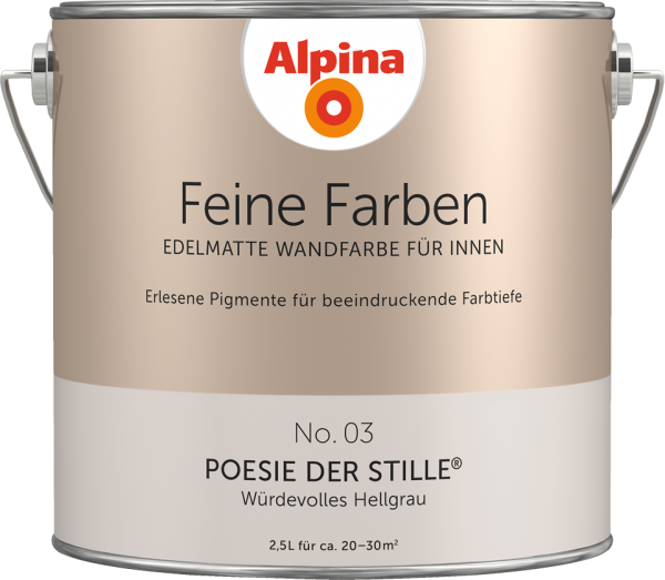 """Alpina Feine Farben No. 03 """"POESIE DER STILLE"""" - Würdevolles Hellgrau"""