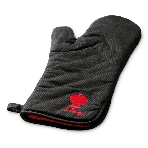 Grillhandschuh, schwarz mit rotem Kugelgrill