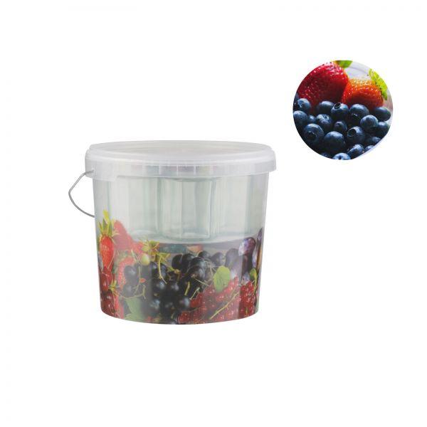 Pflückeimer mit 10 Gläser, Fruchtdekor