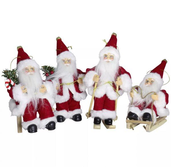Weihnachtsmann, 18 cm, 4 Design, rot/weiß