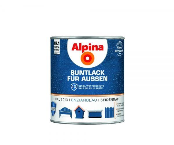 Alpina Buntlack für Außen seidenmatt Enzianblau