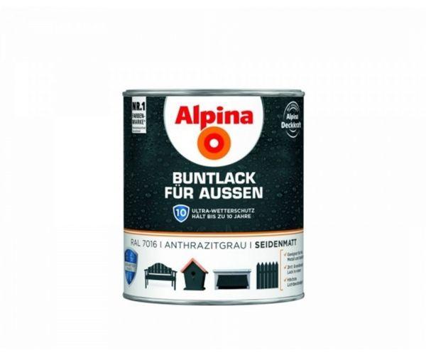 Alpina Buntlack für Außen seidenmatt Anthrazitgrau