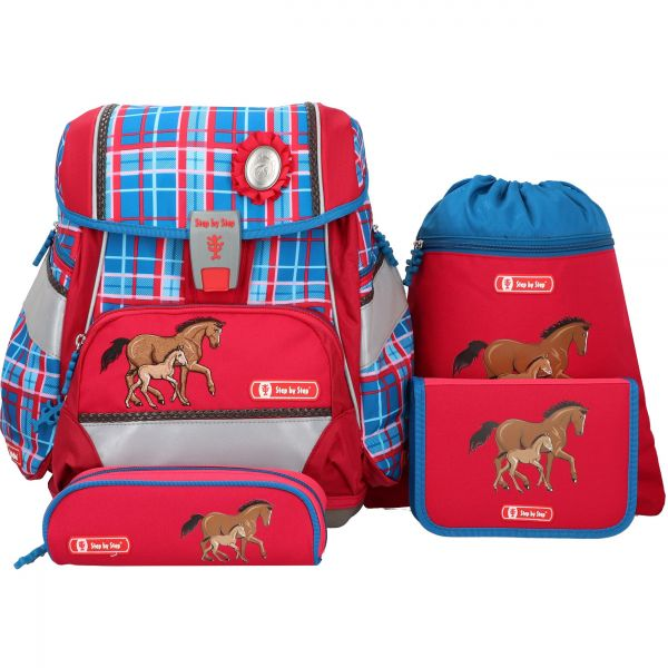 """Hama Step by Step 2in1 Schulranzen-Set """"Horse Family"""" 4tlg"""