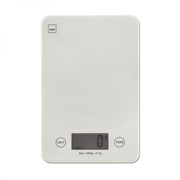Küchenwaage PINTA, weiß Kunststoff/Glasplatte, 5 kg Tragkraft