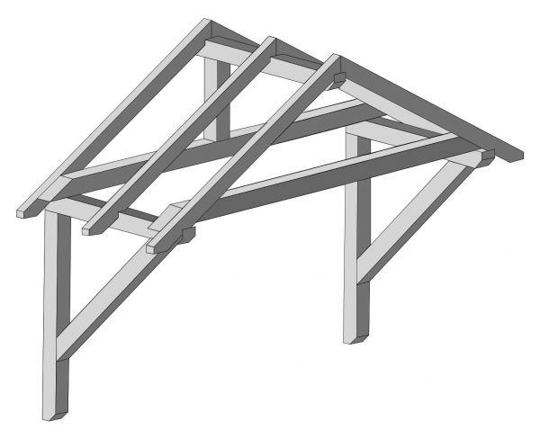 Sattel-Vordach Haustür