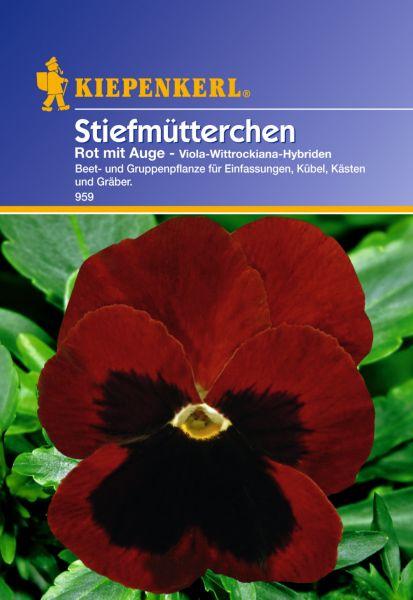 Kiepenkerl Stiefmütterchen Rot mit Auge - Viola-Wittrockiana-Hybriden