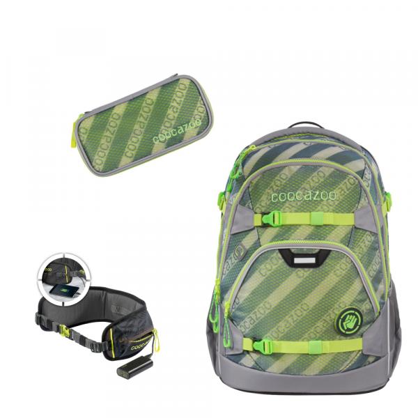 Schulrucksack MeshFlash Neongreen, 3tlg, bestehend aus Schlamperetui, Hüftgurt mit Powerpack