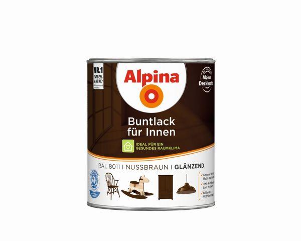 Alpina Buntlack für Innen glänzend Nussbraun