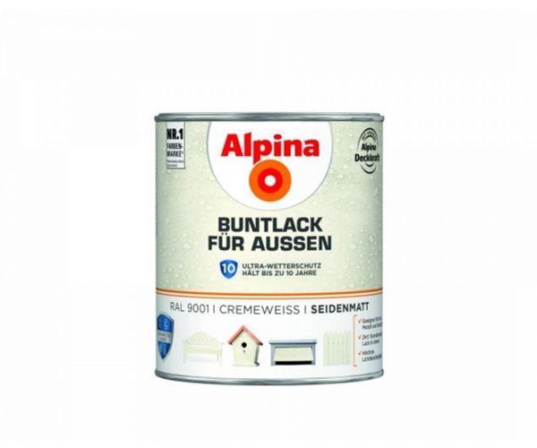 Alpina Buntlack für Außen seidematt Cremeweiß