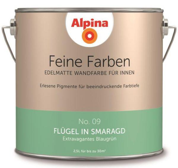 """Alpina Feine Farben No. 09 """"FLÜGEL IN SMARAGD"""" - Extravagantes Blaugrün"""