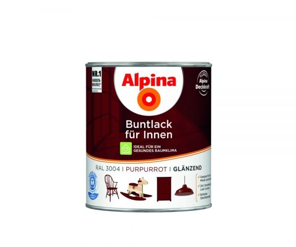 Alpina Buntlack für Innen glänzend Purpurrot
