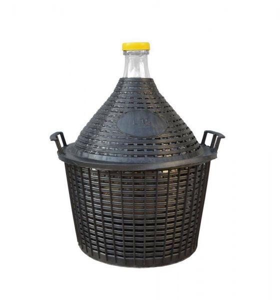 Glasballon 15 l, Öffnung Innen 38 mm, Schutzkorb